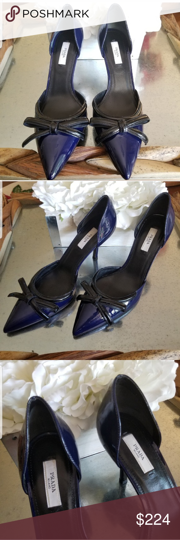 ad06d407fe5 Prada Bow Navy Blue Black Patent Leather Heels 9 Prada Navy Blue Bow with Black  Patent