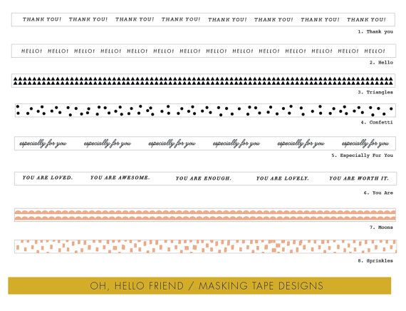 message masking tape 8 designs. by ohhellofriend on Etsy