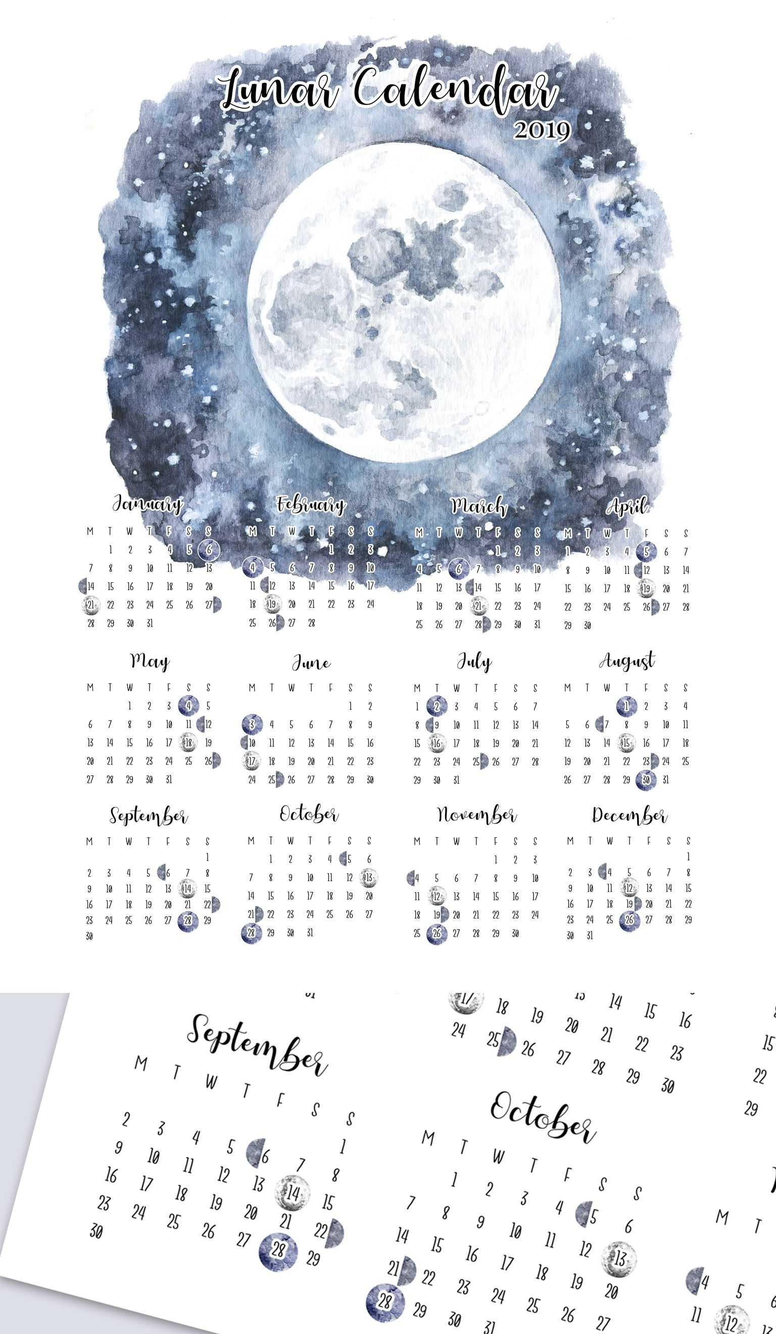 Lunar Calendar 2019 Printable Moon Phases Yearly Overview Wall