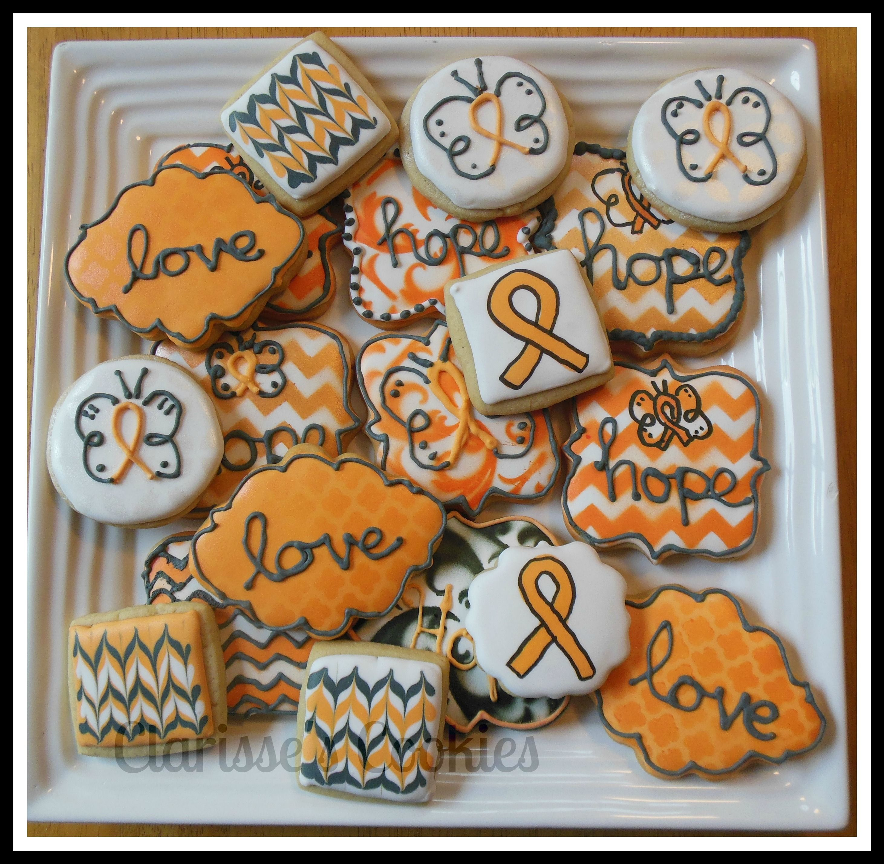 leukemia cookies I did for a benefit butterfly idea saw by Custom