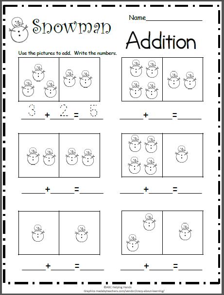 Snowman Addition | Kindergarten math worksheets ...