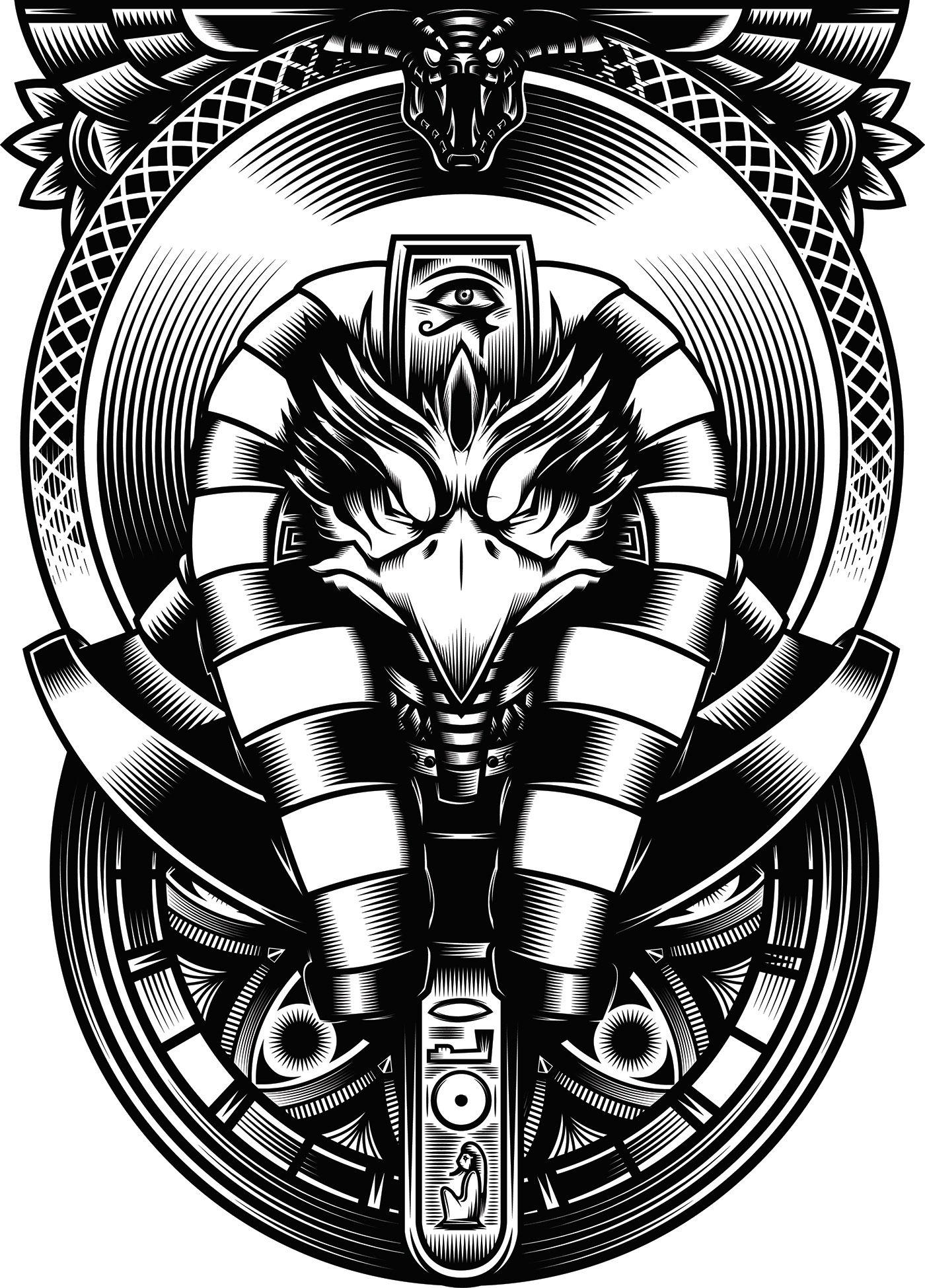 Egyptian God Ra - Vector Illustration on Behance | Egyptian gods, Egypt  tattoo, Horus tattoo