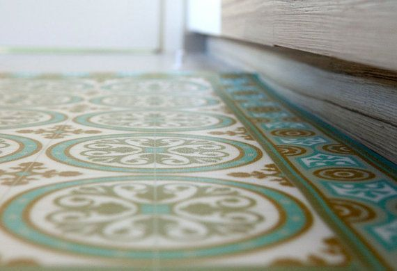 Tiles pattern decorative pvc vinyl mat linoleum rug color turquoise and ocher 812 pvc rug - Fliesenspiegel pvc ...