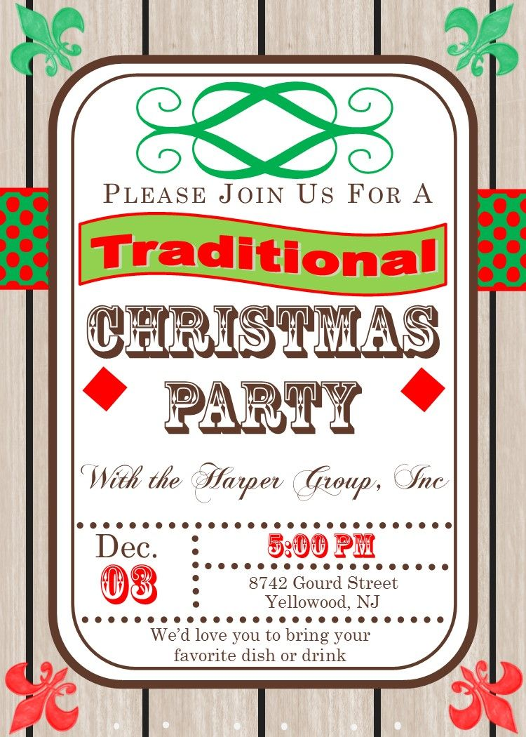 Traditional Wood Rustic Country Company Holiday Christmas Party ...