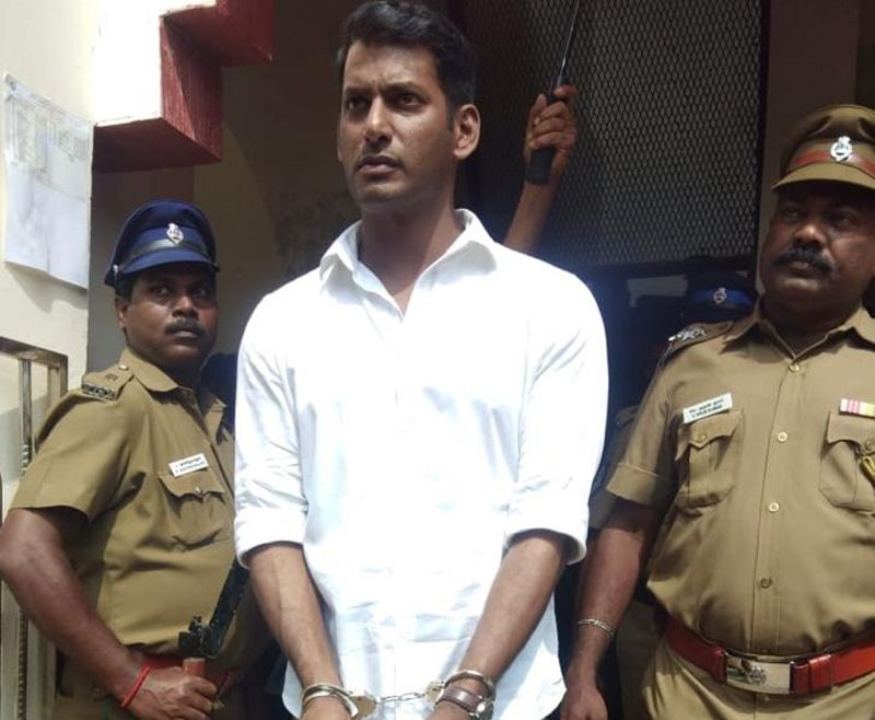 Vishal's hand-cuffed picture goes viral as rumoured arrest