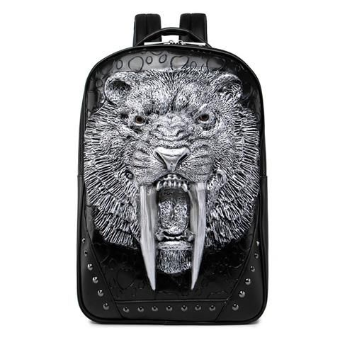 0e428706ca Cool 3D Sabertooth Tiger Leather Laptop Backpack