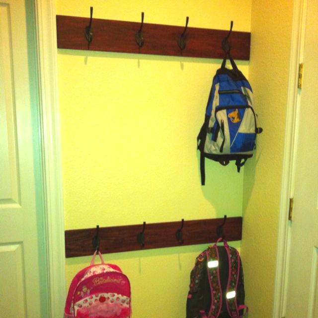 Total Organizing Solutions: Backpack Coat Station- We Stained 2 Boards... Screwed To