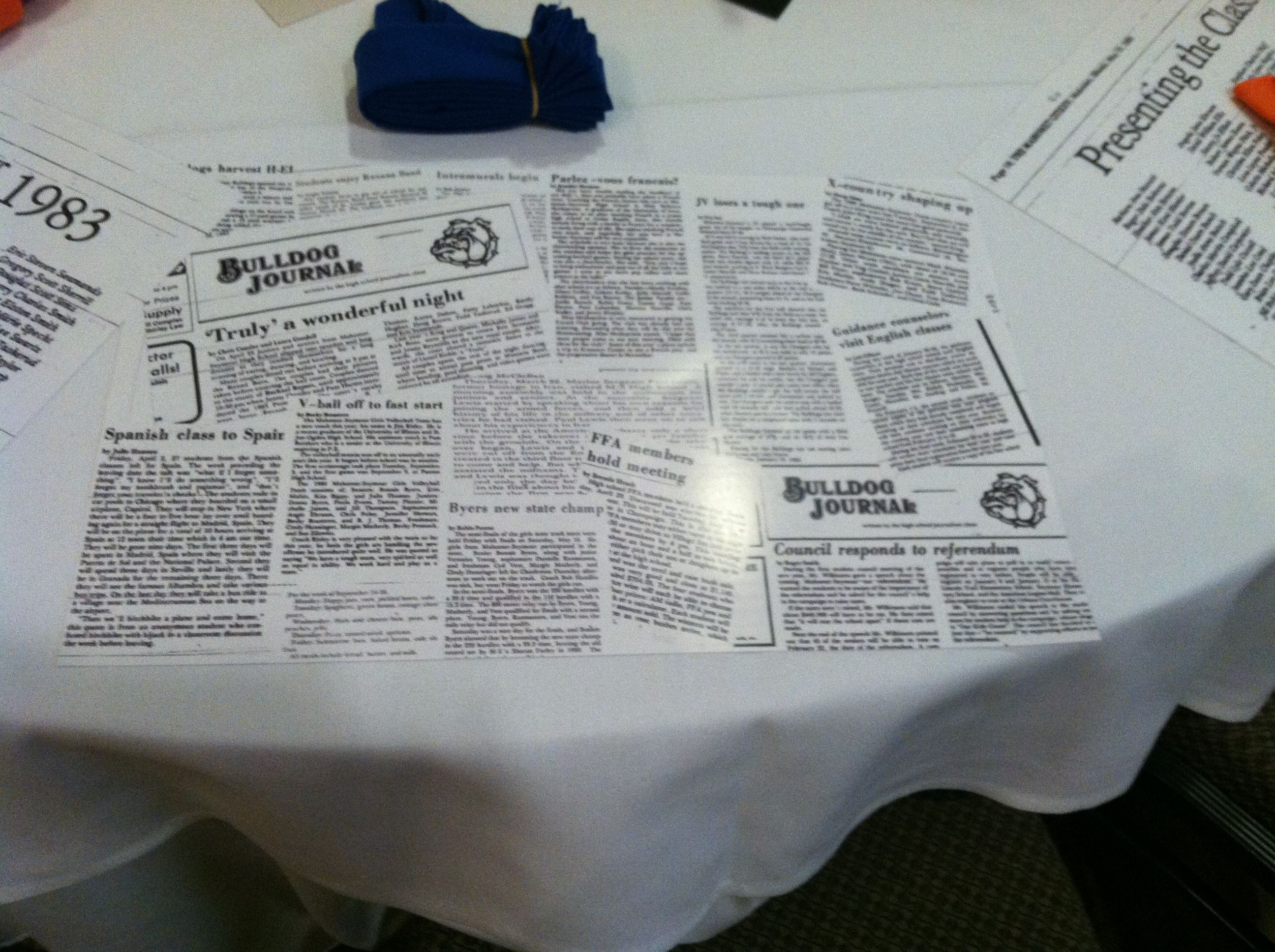 Placemats Are 11x17 Double Sided 110 I Believe Glossy Paper Looks Like Laminate Articles Ar High School Class Reunion High School Newspaper Class Reunion
