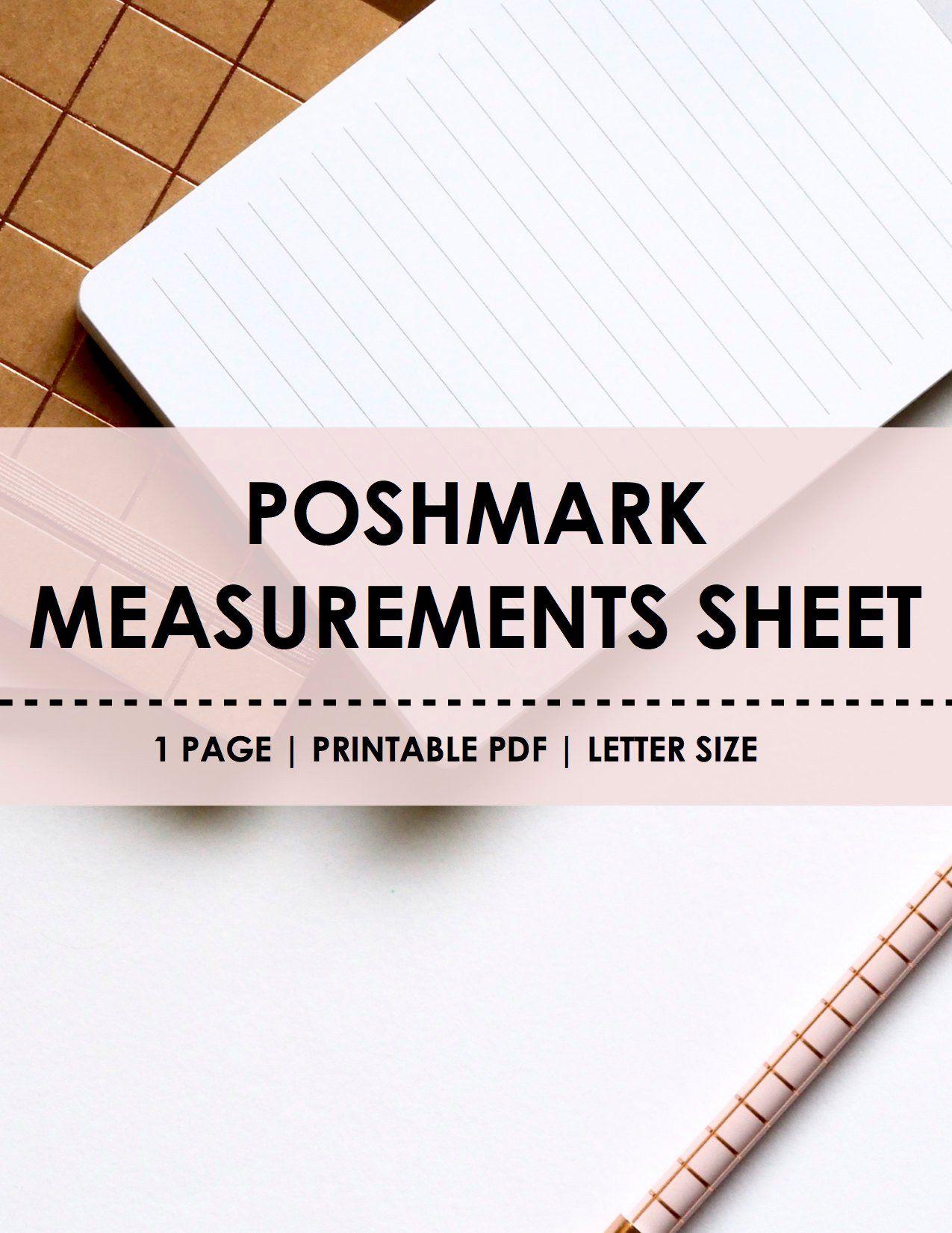 Poshmark Management Kit Measurements Worksheet Poshmark