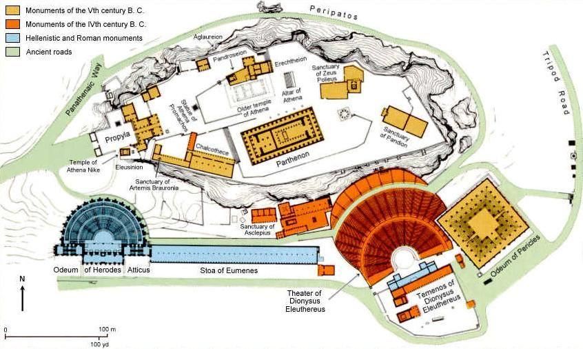 Map Of The Acropolis In Athens Athens Acropolis Acropolis Athens