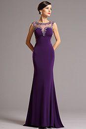 Long Sleeves Applique Purple Evening Dress Formal Dress