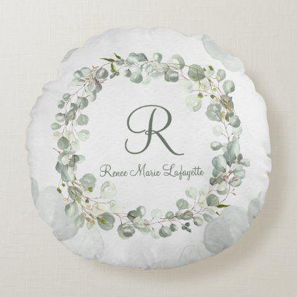Photo of Soft Green Eucalyptus Wreath Monogram Name Round Pillow   Zazzle.com