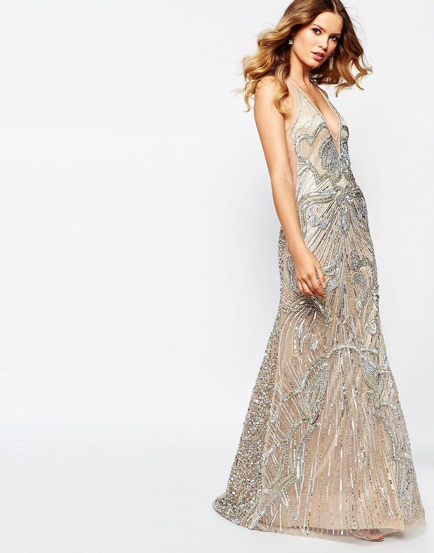 Star is born embellished crepe maxi dress in metallic lyst - Image 4 Of A Star Is Born Luxe Embellished Maxi Dress With Red Carpet Train