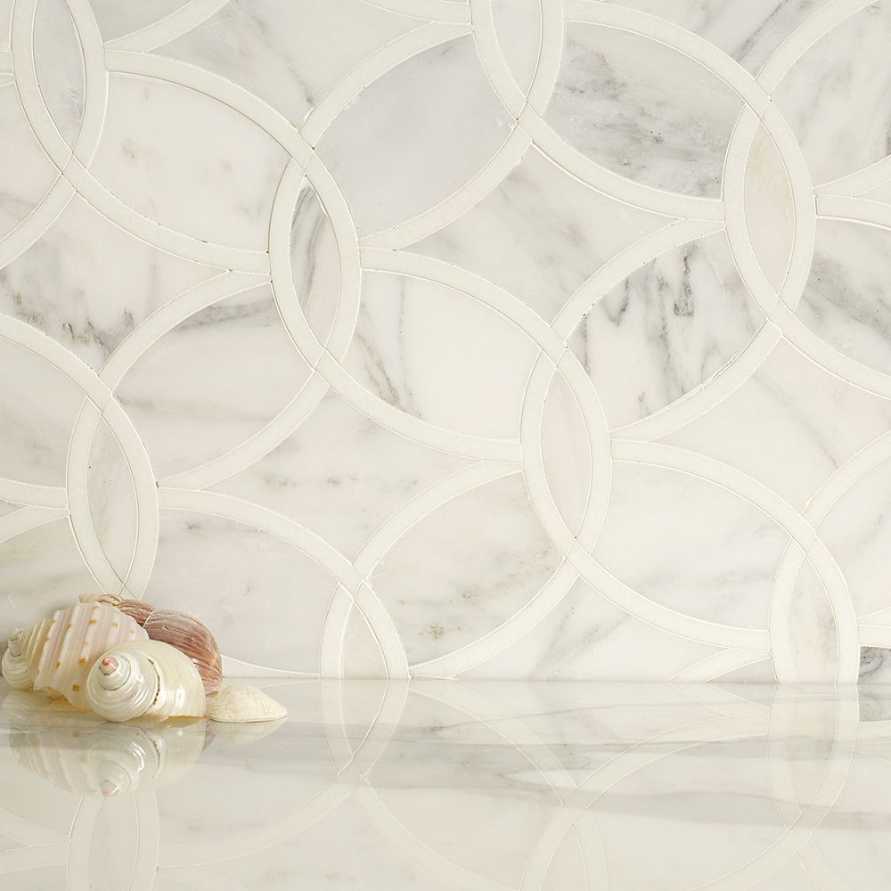 Water jet mosaic arabescato carrara and thassos white marble mix water jet mosaic arabescato carrara marble and thassos white marble mix dailygadgetfo Images