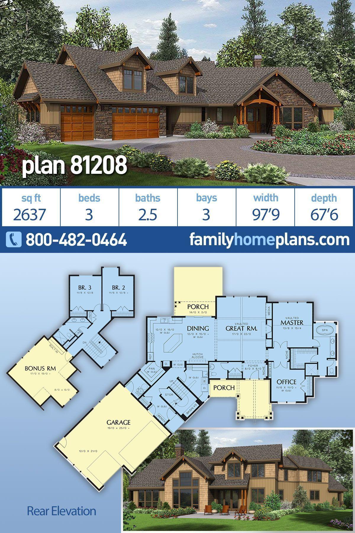 Photo of Ranch Style House Plan 81208 mit 3 Betten, 3 Bädern, Garage für 3 Autos, #Bad #Bett #Car #Garage #Haus …