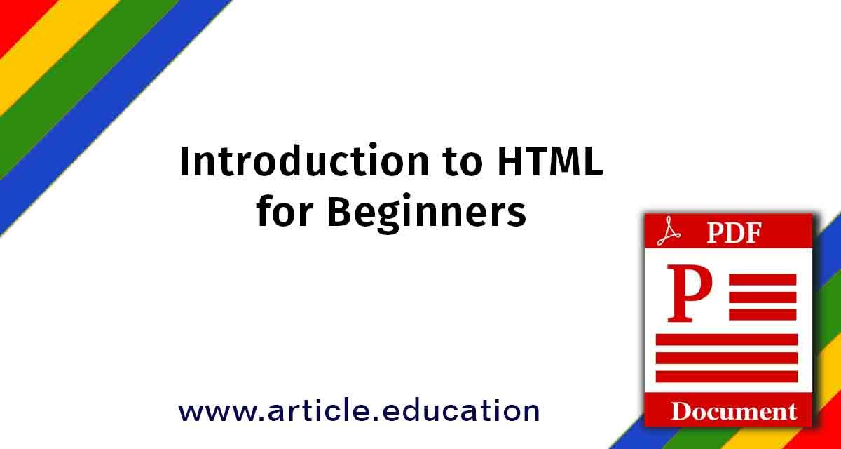 Introduction To Html For Beginners Tutorial Pdf Html For Beginners Introduction To Html Design Tutorials