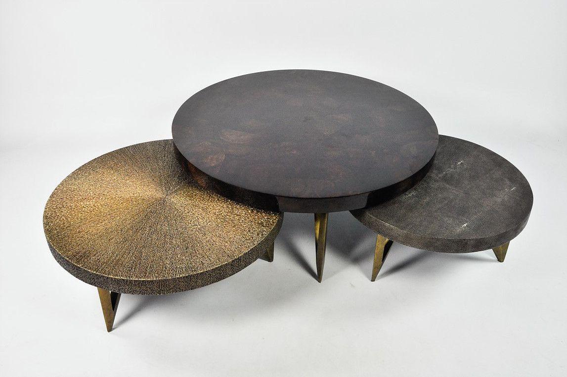 Ginger Brown France Galuchat Shagreen Furniture Coffee Table Luxury Coffee Table Coffee Table Centerpieces