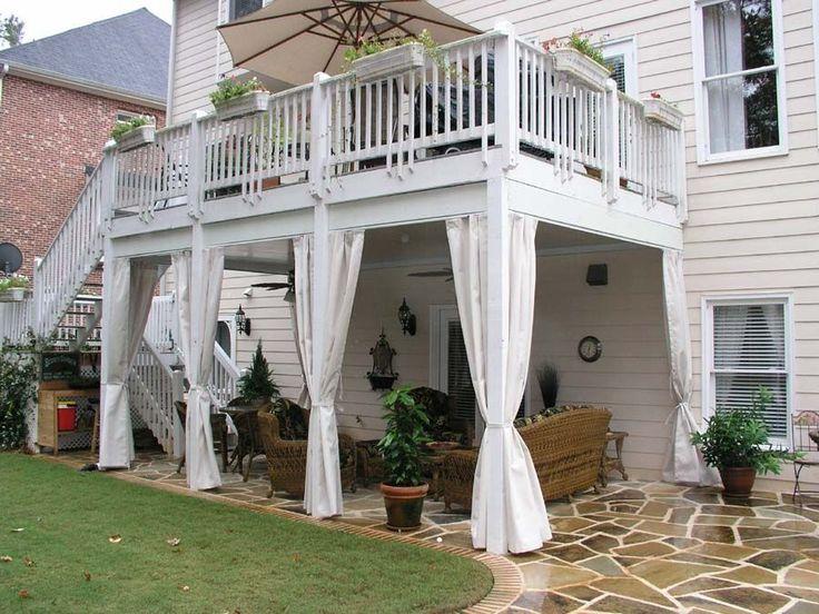 Love The Curtain Idea Decks Backyard Backyard Patio Patio Under Decks