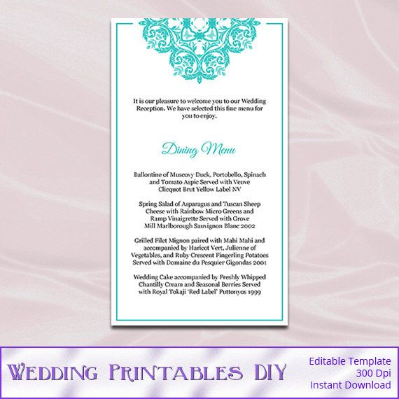 Tiffany Blue Wedding Menu Cards Template by WeddingPrintablesDiy - dinner party menu template