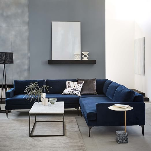 Andes 3 Piece L Shaped Sectional In 2020 Blue Sofas Living Room Blue Living Room Sofa Design