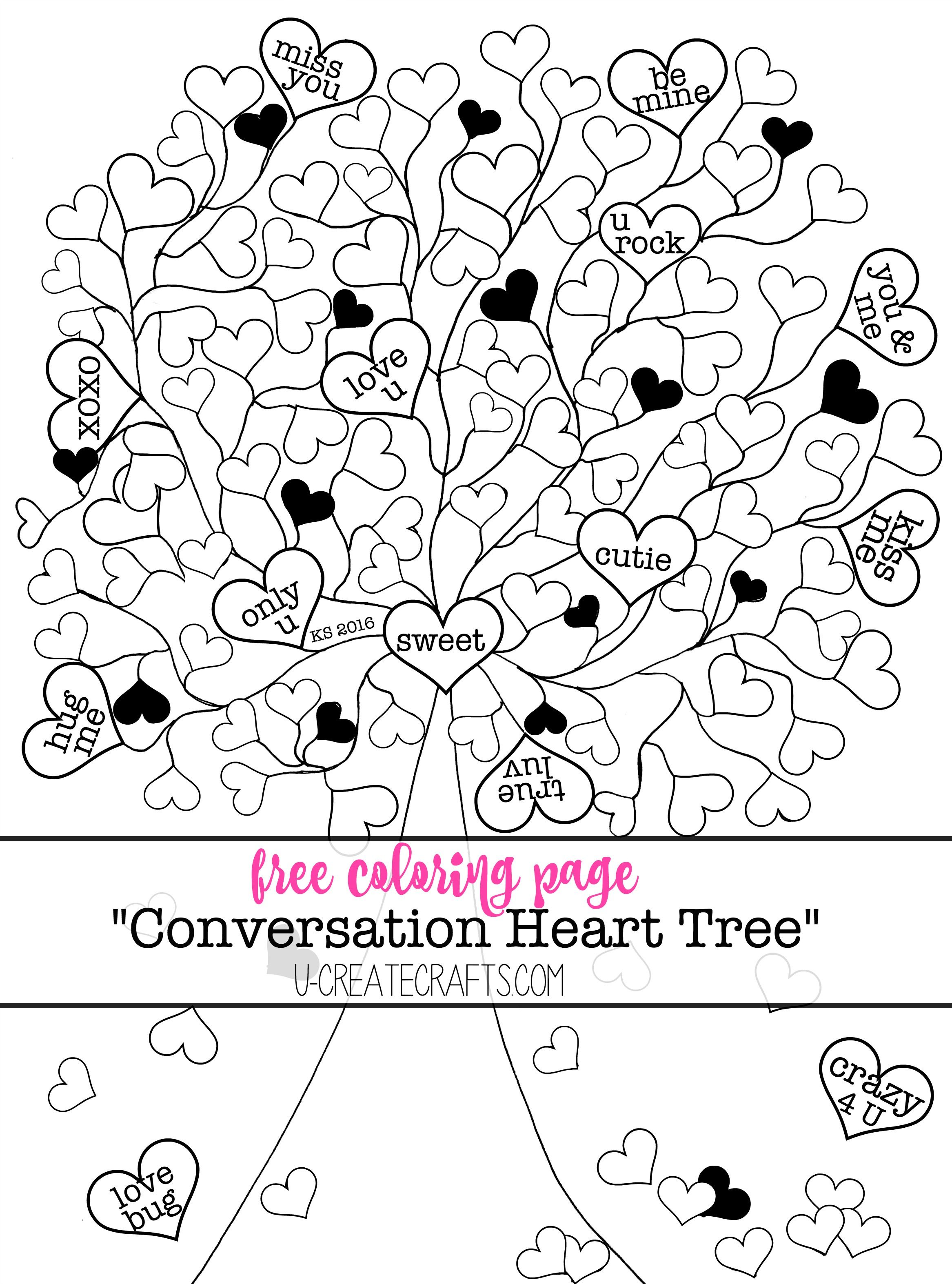 Valentine Conversation Heart Tree Coloring Pages Valentine