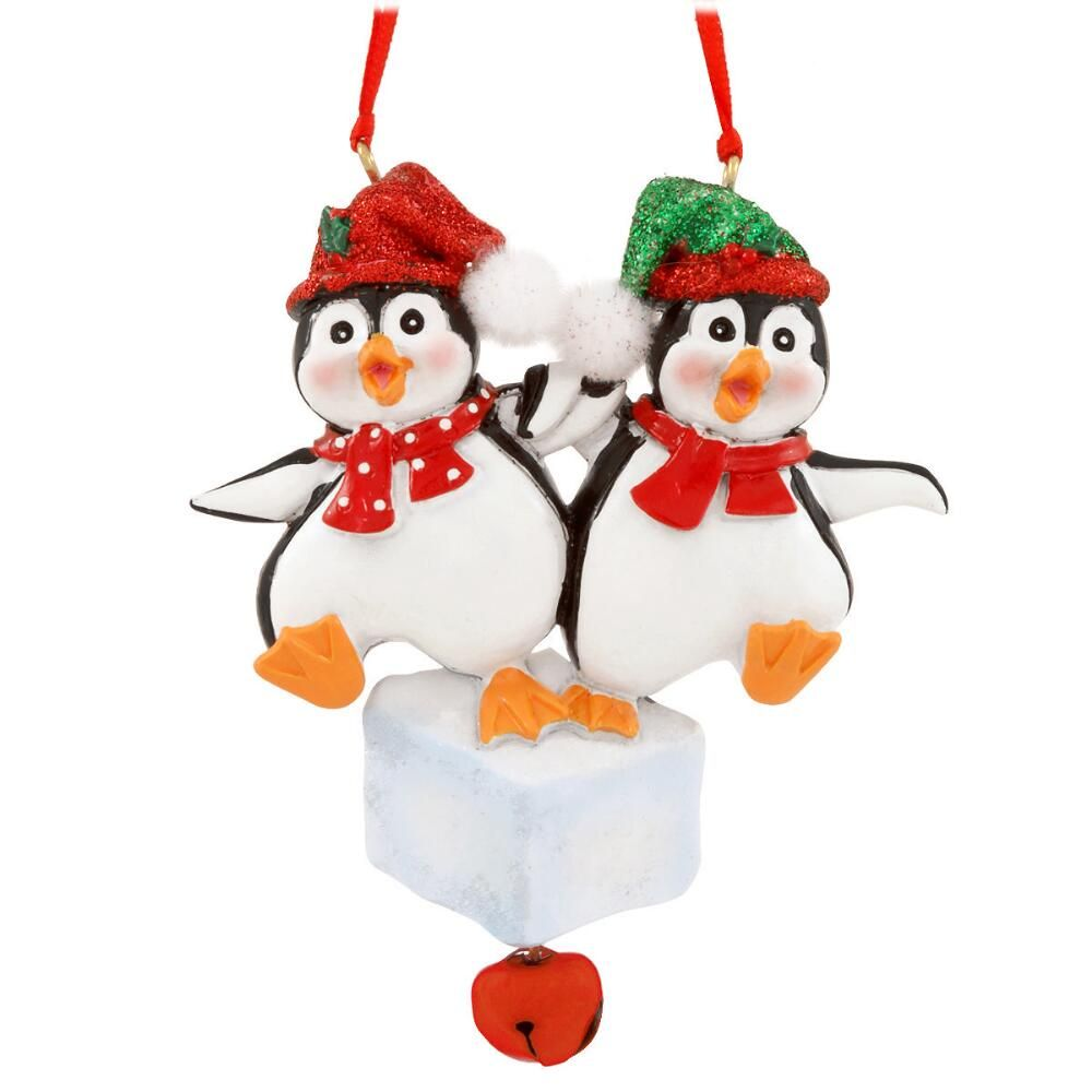 Penguin Couple On Ice Personalized Ornament Ornaments