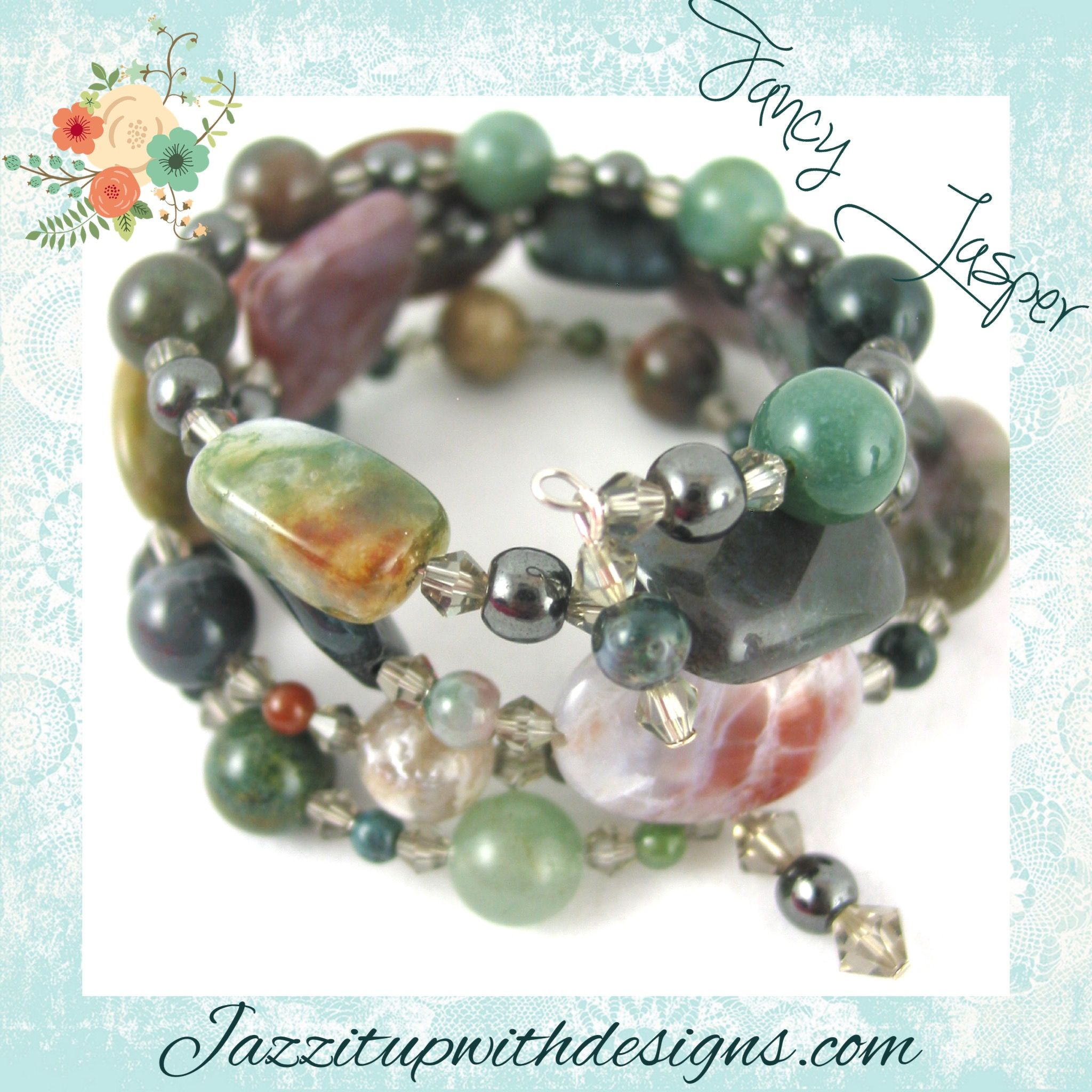 Jasper Green Brown Bracelet and Earrings Gemstone Handmade #cpromo