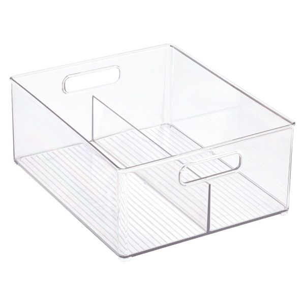Idesign Linus Clear Divided Stackable Bins With Handles In 2020 Stackable Bins Stacking Bins Stackable Plastic Storage Bins
