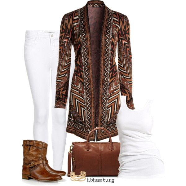"""""""No. 328 - Brown & white"""" by hbhamburg on Polyvore"""