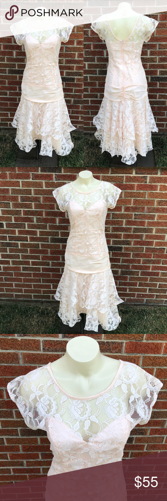 Jcpenney vintage lace prom dress light peach pink