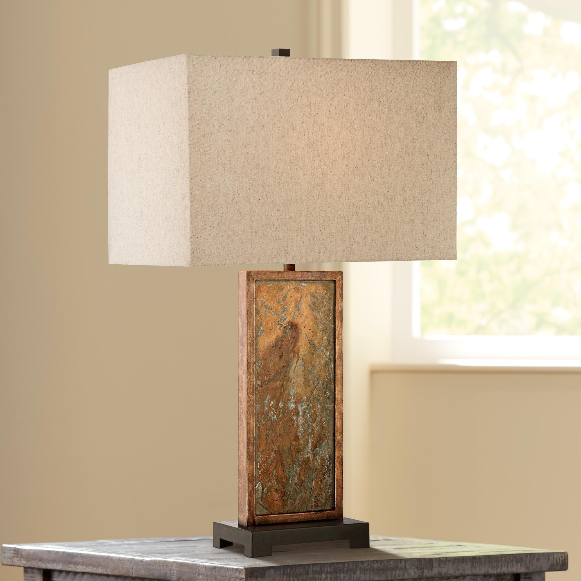 Franklin Iron Works Yukon Slate Table Lamp Slate Table Lamp
