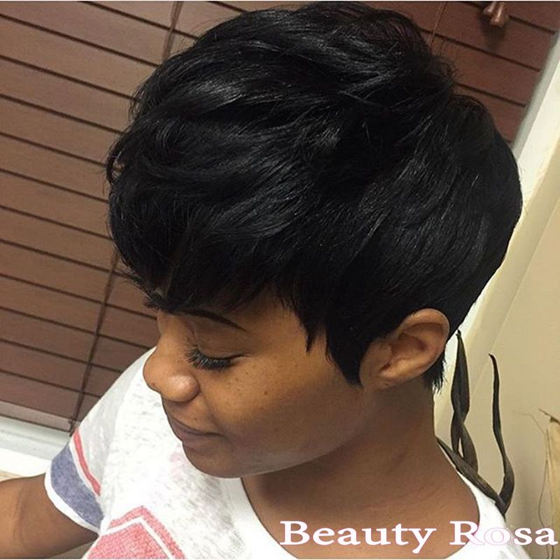 Elegance Beauty Short Hairstyle Virgin Human 28 Pieces Short Hair Weave 4 Inch Pure Color Quick Weave Hairstyles Quick Weave Hairstyles Short Weave Hairstyles