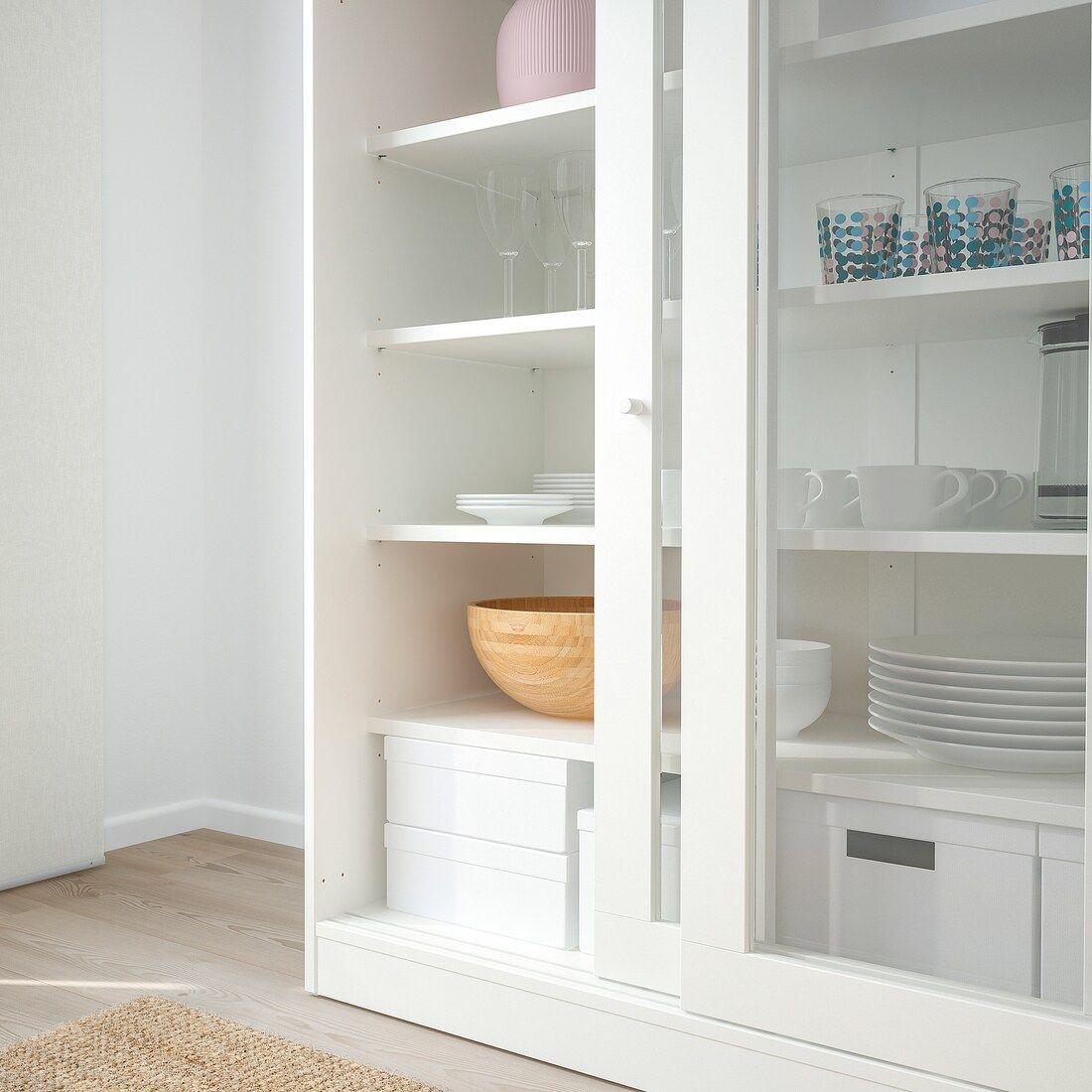 SYVDE Armario con puertas vidrio, blanco IKEA en 2020
