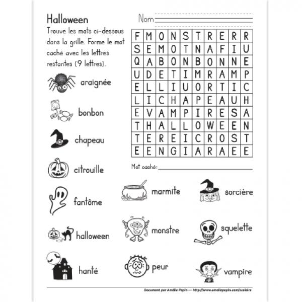 mot cach illustr halloween enseigner la grammaire pinterest french worksheets core. Black Bedroom Furniture Sets. Home Design Ideas