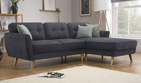 Baltimore Slate Grey Plush Fabric Corner Sofa Furniture Choice Corner Sofa Furniture