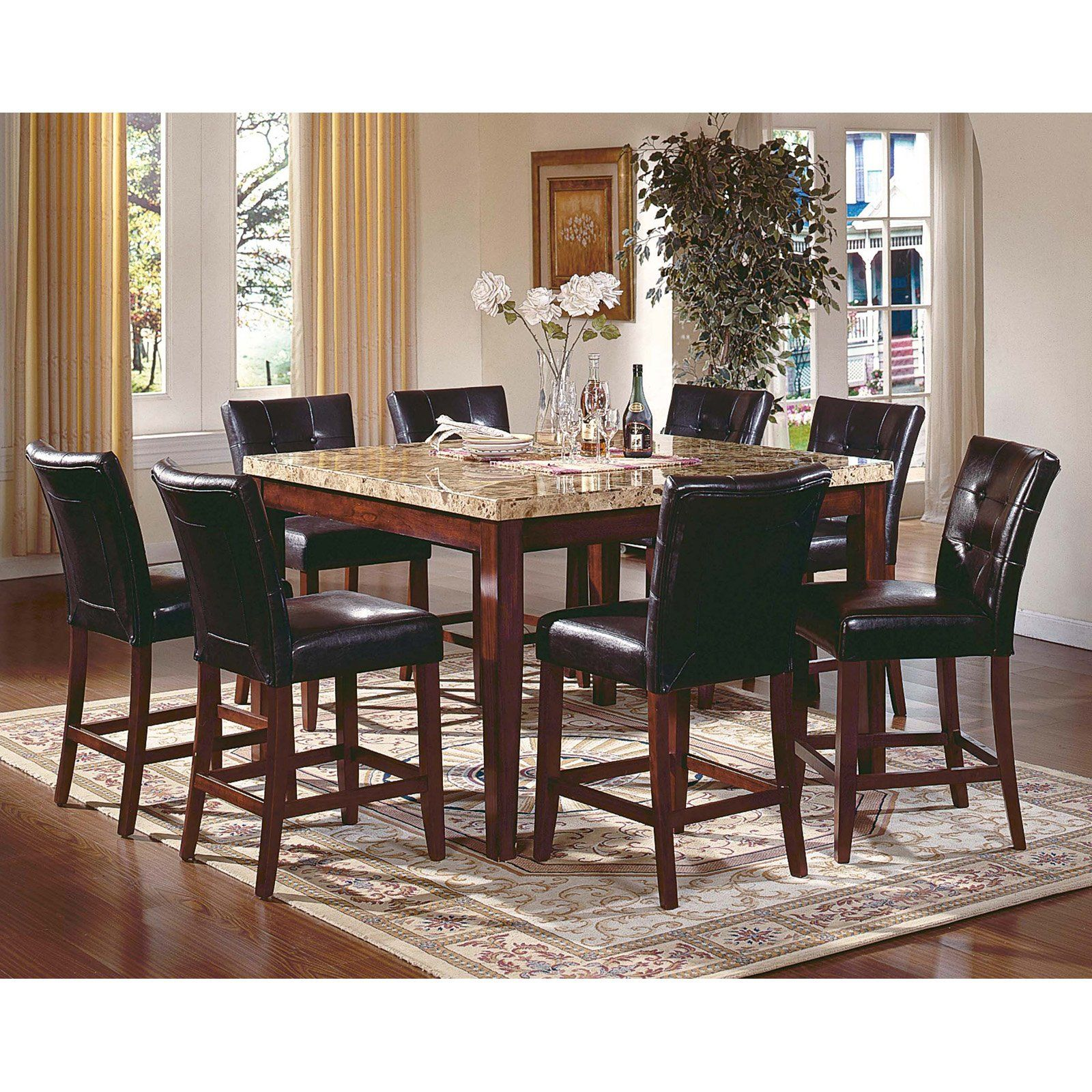 Have To Have It Steve Silver Montibello 7 Piece Marble Top Counter Height Square Dining Table Dining Table Marble Square Dining Table Set Square Dining Tables