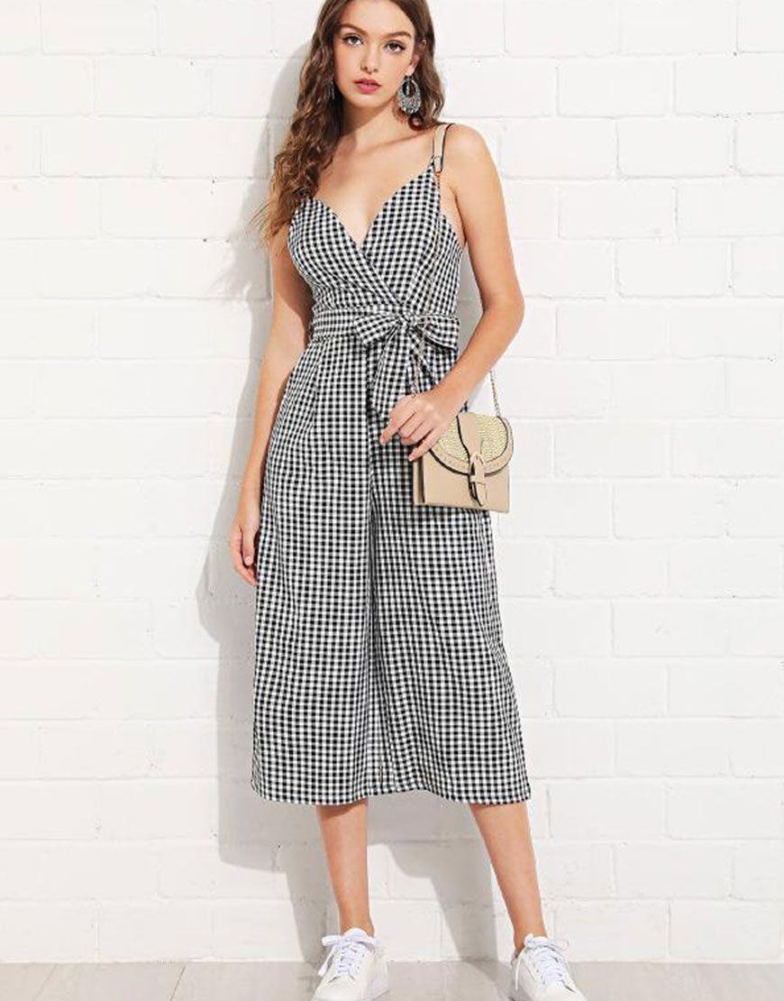 e6e7a85a020 Overlap Front Gingham Cami Jumpsuit with Belt  jumper  gingham