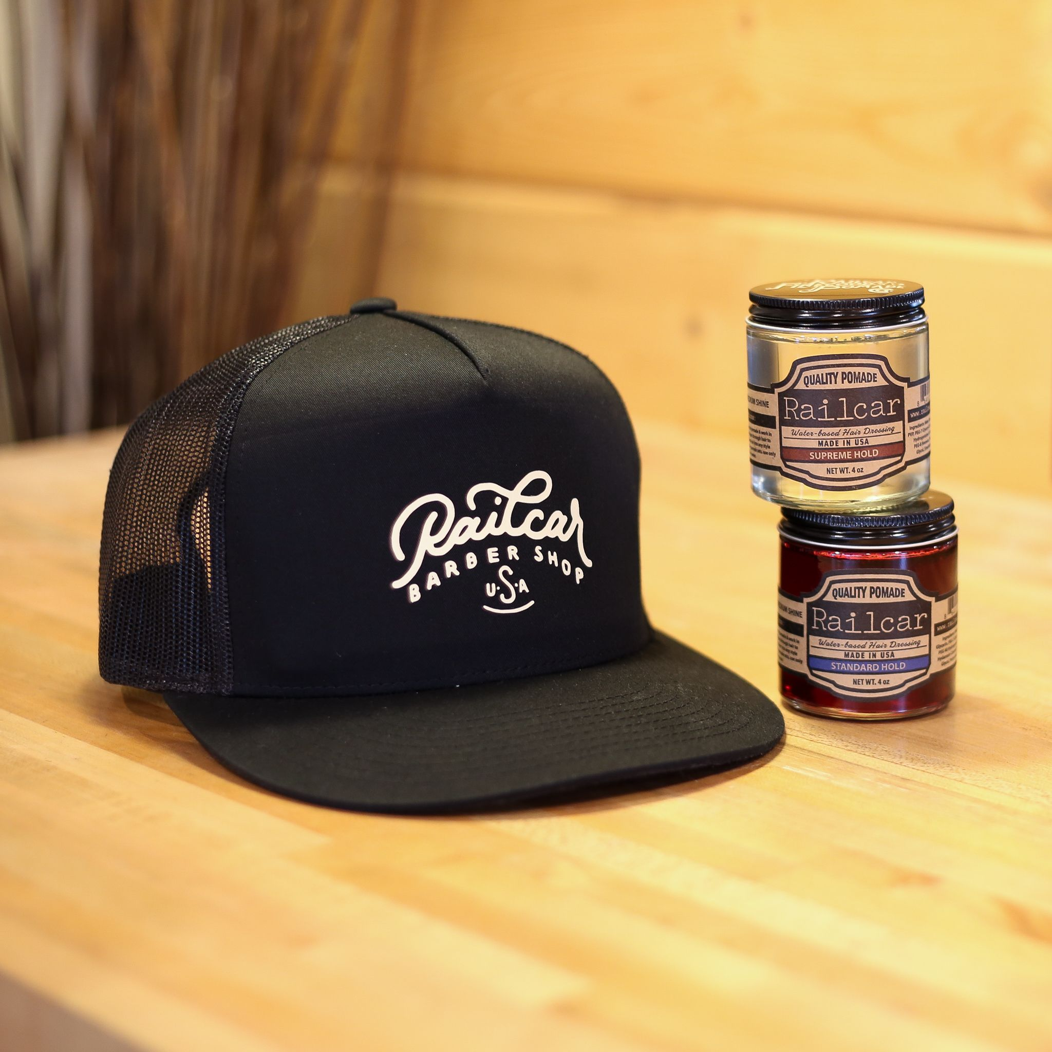 afab110579f32 NEW Railcar Barber Shop hats. All made in house at our workshop. Rep our  Barber Shop around town!