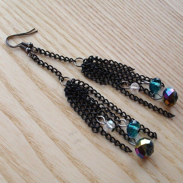 Black Chain and Sparkle Earrings