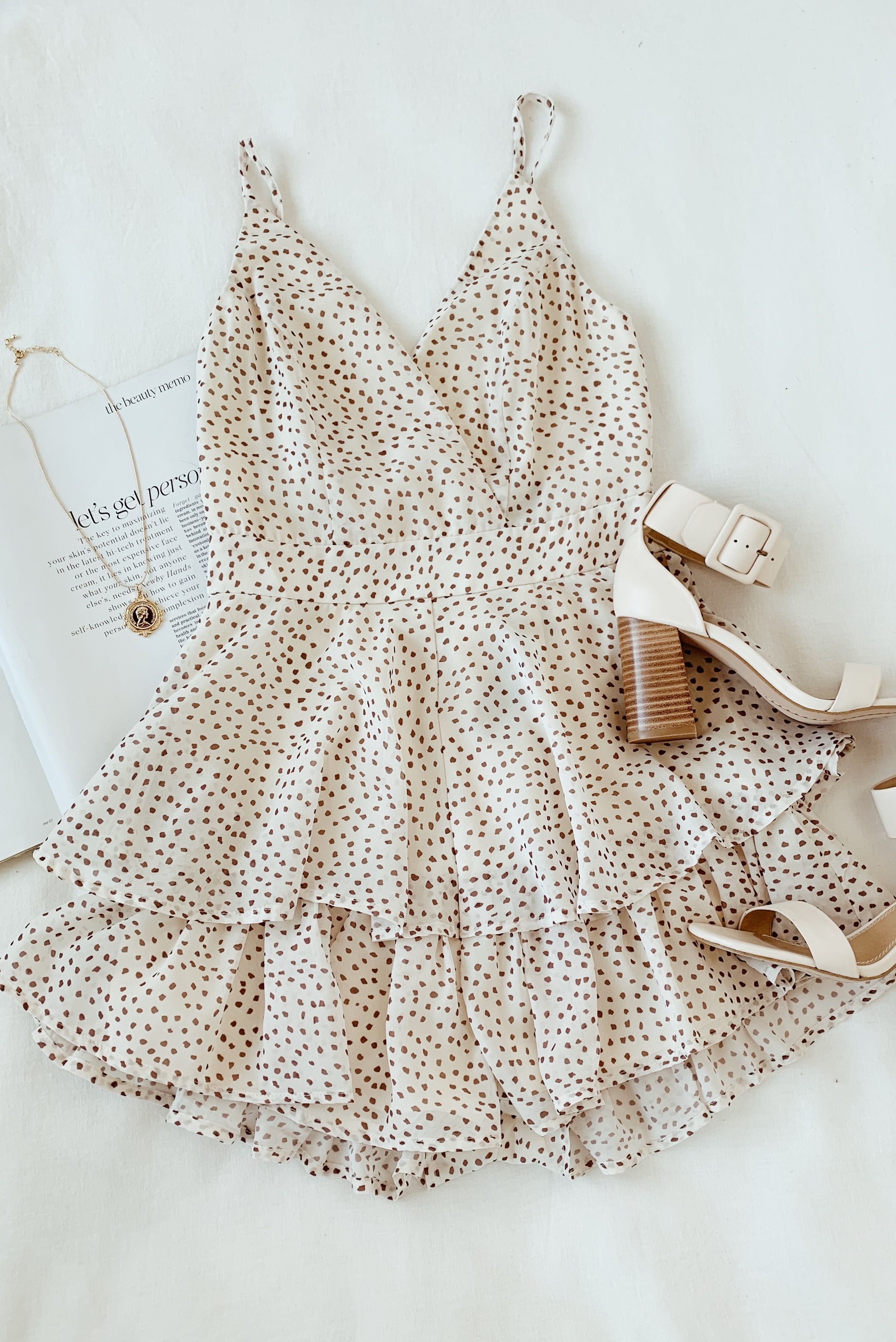 4f61e68611a1 The party never stops when you're in the Lulus Clarisa Cream and Taupe Polka