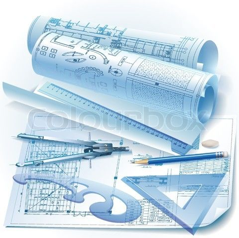 Stock Vector Of Architectural Background With Drawing Tools And Rolls Drawings Clip