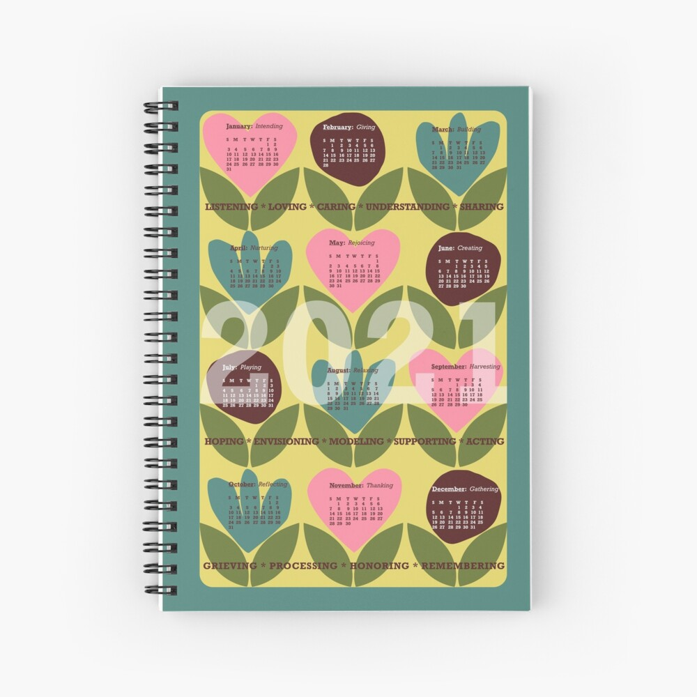 Happy New Year Use This 2021 Retro Scandinavian Notebook Calendar With Intentions As A Journal Or Diary To D In 2020 Graphic Patterns Hand Painted Silk Surface Design