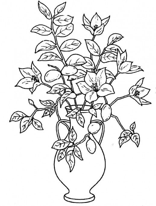 Colouring Pages Of Flowers In Vase : Drawing flower pots sketch library flowers pinterest