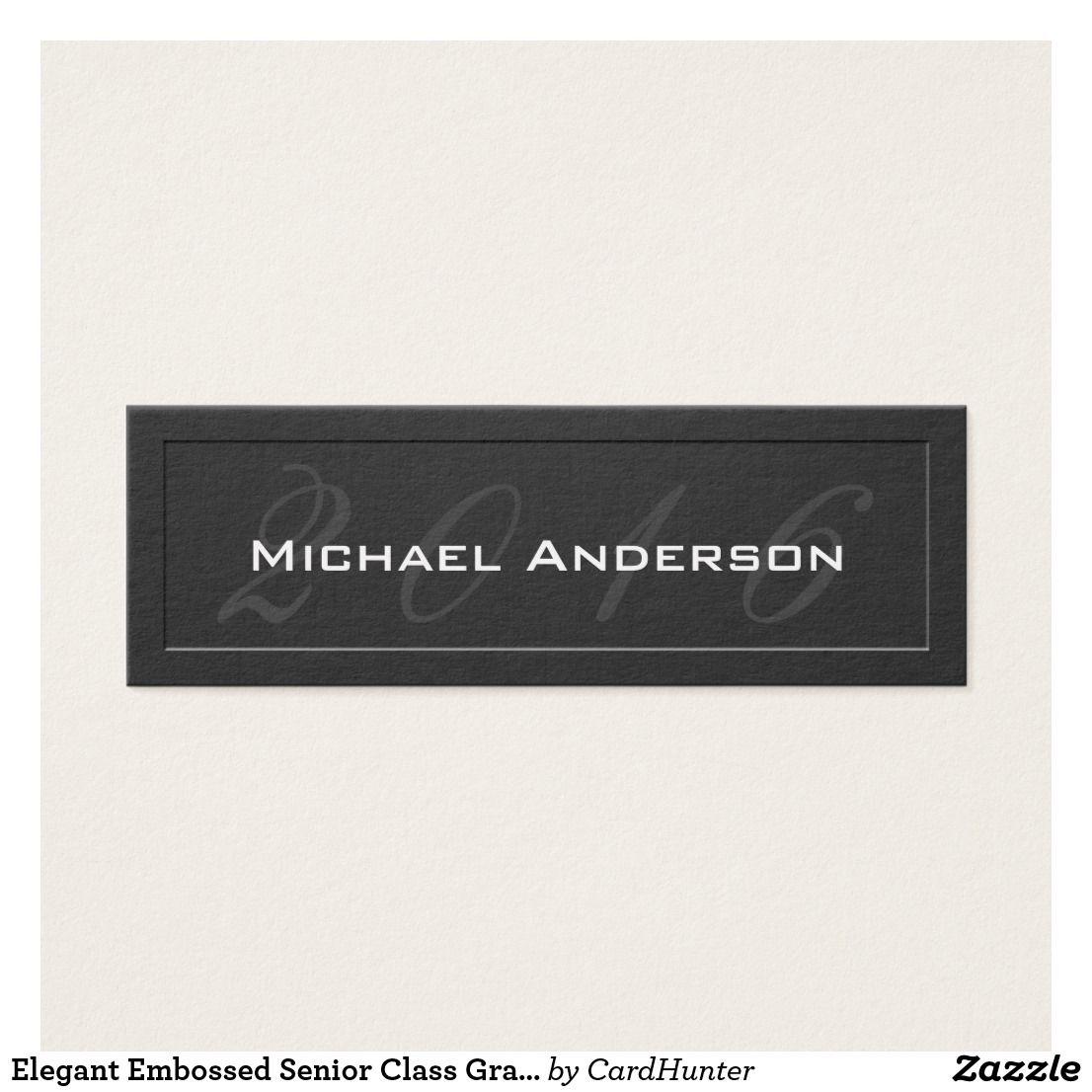 Elegant Embossed Senior Class Graduation Name Card   Business Cards ...