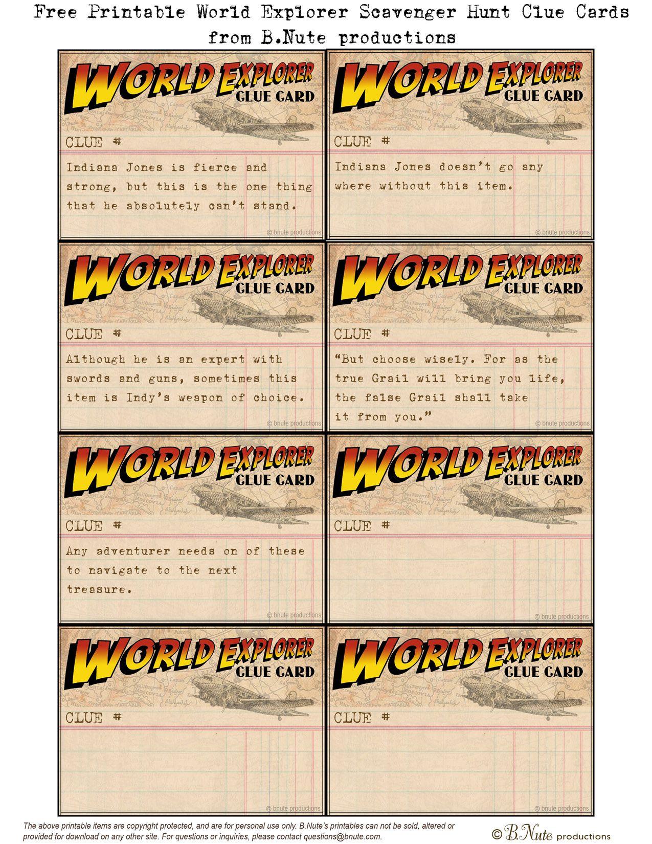 Free Printable World Explorer Indiana Jones Scavenger Hunt