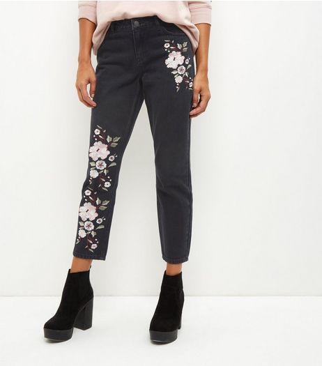 Black Floral Embroidered Straight Leg Jeans | New Look