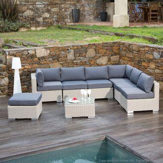 Canap  d\'angle de jardin 6 places + repose-pieds + table basse ...