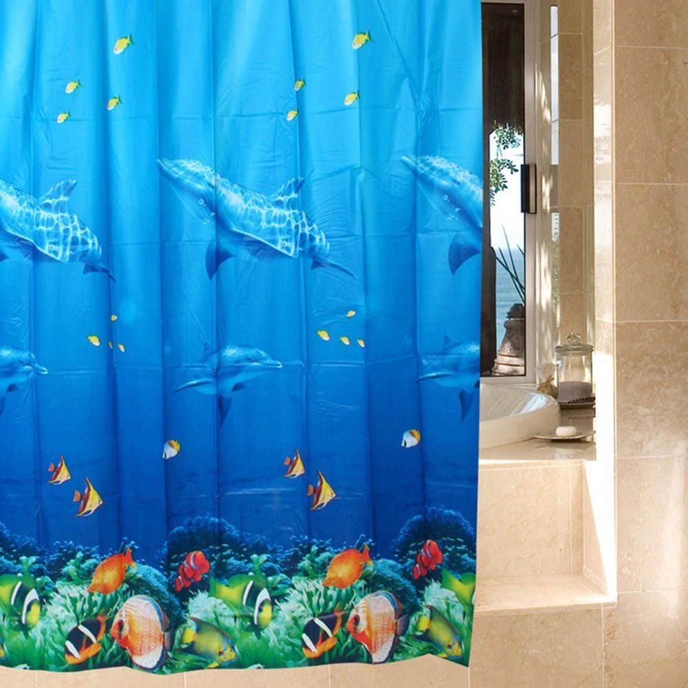 Dolphin Tropical Fish Ocean Theme Shower Curtain Waterproof Opaque Home  Curtain With 12 Hooks HG99 #