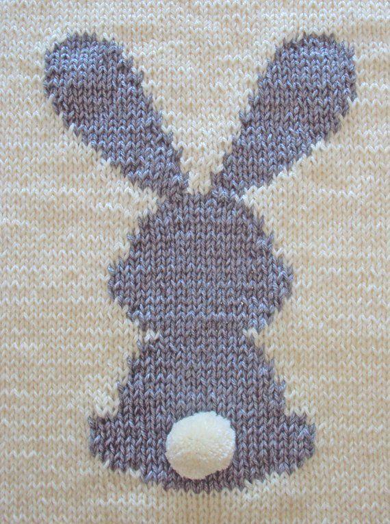KNITTING PATTERN Bunny Baby Blanket, Rabbit Blanket Baby Pattern, 2 SIZES, Rabbit blanket, beginner knitting, Instant download, pdf ohlalana