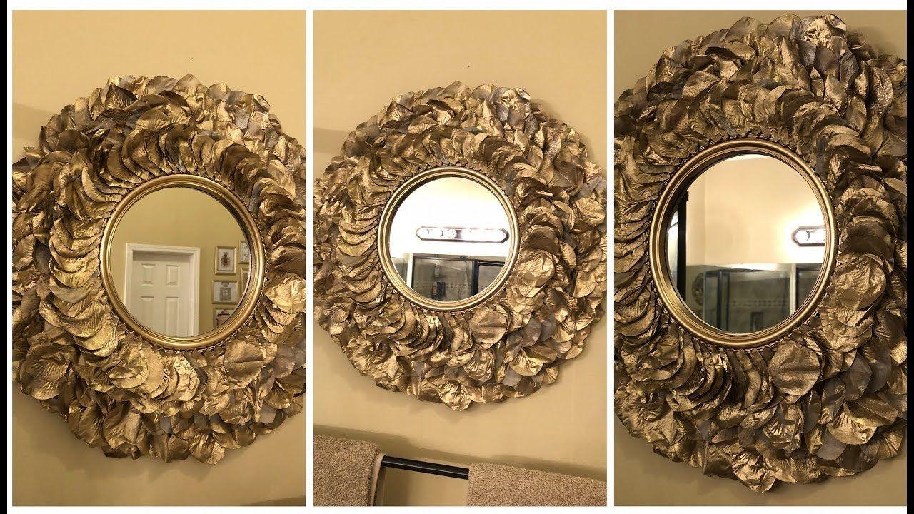 Dollar Tree Diy Gold Rose Petal Wall Mirror Bastelarbeiten Bastelideen Kreativ